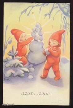 MARTTA WENDELIN Vintage Christmas Cards, Christmas Greeting Cards, Christmas Greetings, Vintage Cards, Childrens Christmas, Christmas Fairy, Christmas Past, Vintage Book Art, Girl Face Drawing