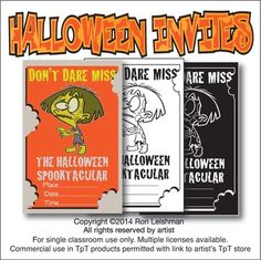Need some fun invitations for Halloween? These are great for handing out to your students or for your own party.