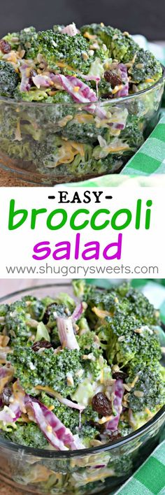 Every potluck needs this Broccoli Salad on the table. It's the perfect summe… Every potluck needs this Broccoli Salad on the table. It's the perfect summer side dish! Best Broccoli Salad Recipe, Easy Broccoli Salad, Brocolli Salad With Bacon, Broccoli Salad With Raisins, Brocolli Recipes, Broccoli Cauliflower Salad, Broccoli Cheddar, Broccoli Florets, Healthy Snacks