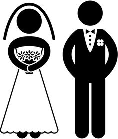 Cartoon funny bride and groom clipart