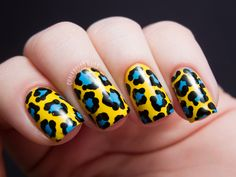 Chalkboard Nails: Yellow and Teal Leopard Print