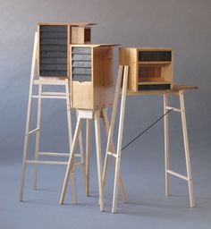 David Gates collectors cabinets based on industrial architecture Wooden Furniture, New Furniture, Furniture Making, Furniture Design, Cabinet Design, Furniture Inspiration, Wood Design, Contemporary Furniture, Wood Projects