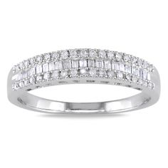 Baguette-cut and round white diamond ring14-karat white gold jewelryClick here for ring sizing guide