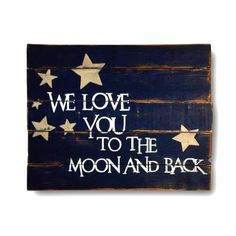 "Wood wall hanging, hand painted on reclaimed wood. Perfect for a baby shower gift and makes an adorable addition to any nursery decor. Sign pictured is 18""x 24"" in size and has a navy blue background with white lettering & gold stars."