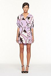 Lilac shirt dress- love the print and shape
