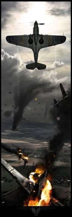 Ashes Over England by BrianSamms on deviantART Okay, this looks cool, but what the heck is going on? There were no American in the Battle of Britain. Ww2 Aircraft, Fighter Aircraft, Military Aircraft, Fighter Jets, Focke Wulf 190, Photo Avion, War Thunder, Aircraft Painting, Ww2 Planes