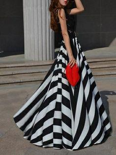 Charming Chiffon Polka Dot Pattern Long Maxi Skirt Black&White ...
