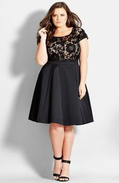 Free shipping and returns on City Chic 'Romantic Lace' Fit & Flare Dress (Plus Size) at Nordstrom.com. A scoop-neck bodice of sheer-illusion lace lends timeless romance to a party-going LBD with a flouncy, tulle- lined skirt.