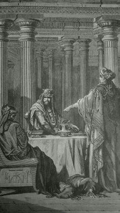 Phillip Medhurst presents detail 119/241 Gustave Doré Bible Esther Accusing Haman Esther 7:5-6