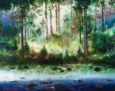 Misty Water by Gleb Goloubetski, Oil on Canvas, 80cmx100cm