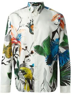 Shop ROBERTO CAVALLI 'flowers birds' shirt from Farfetch