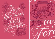 By Kate Forrester. This was a job for Unilever and Absolute Press who produced a luxury, hard-back, 'coffee table' book, dedicated to the delights (and horrors) of Marmite. They commissioned Kate to produce 3 typographic illustrations for the book, based around their famous theme of love or hate. - clever marketing