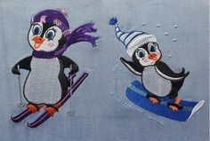 Skiing and Snowboarding Penguins Embroidery Designs - 2 designs Ski penguin and Snowboard Penguin by LLHembroidery on Etsy