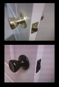 Good bye 90s doorknobs!! She took Rustoleum Oil Rubbed Bronze spray paint to the brass knobs in her house. We did ours about 4 years ago. most of them havent chipped at all. We did our light fixtures, shower trim, all doors, hinges, kitchen cabinet pulls and hinges, towel racks, Our pantry , door to the garage also. theyve held up REALLY well. If I remember correct we used a spray primer too.