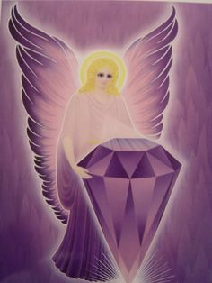 Violet Flame Angel with Amethyst Gem Saint Germain, Cosmic Art, Ascended Masters, Amethyst Gem, Guardian Angels, Diy And Crafts, Disney Characters, Fictional Characters, Aurora Sleeping Beauty