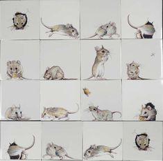 Tegels met hand geschilderde muizen