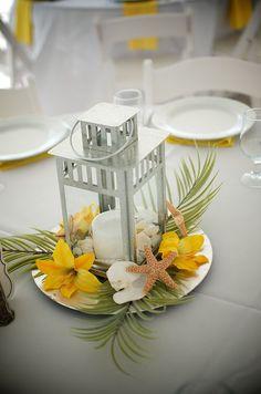 #yellow lily #beach centerpiece/ Orlandoweddingflowers/ www.weddingsbycarlyanes.com