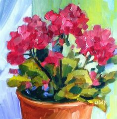 """Daily Paintworks - """"3.3 Geraniums"""" by Libby Anderson"""