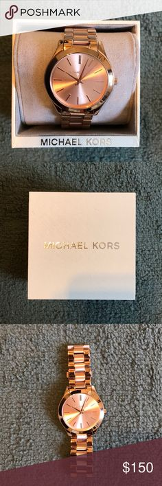 Michael Kors Rose Gold Slim Runway Watch Never Worn!!! Still has plastic face covering. Shiny brand new MK watch. Comes with extra links & watch box. Michael Kors Accessories Watches