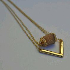 Nude V cylinder pendant  Druzy necklace Nude V cylinder pendant Druzy necklace Jewelry Necklaces