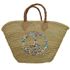 beach Baskets Sequin Peace and Love Rainbow Alternative To Plastic Bags, Beach Basket, French Baskets, Love Rainbow, Red Gingham, Couture, Peace And Love, Straw Bag, Hand Weaving