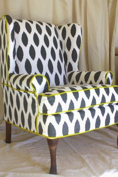 "Chelsea Wing Chair  Inslee ""watercolor Gingham""  Gingham Amazing How To Reupholster Dining Room Chairs With Piping Inspiration Design"