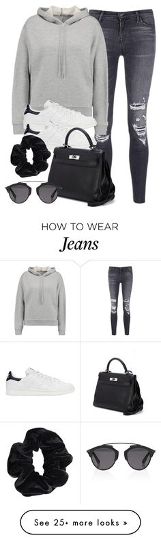 """""""Style #10813"""" by vany-alvarado on Polyvore featuring J Brand, T By Alexander Wang, adidas Originals, Hermès, Christian Dior and American Apparel"""