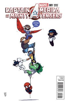Captain America and the Mighty Avengers # 1 (Variant) by Skottie Young Ms Marvel, Chibi Marvel, Marvel Dc Comics, Marvel Heroes, Comic Book Artists, Comic Artist, Comic Books Art, Skottie Young, Anime Sexy