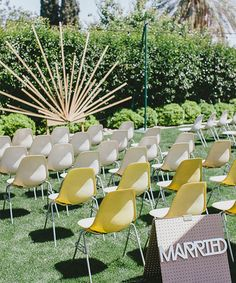 A retro-inspired ceremony altar with an art-deco wooden starburst backdrop. Wedding Ceremony Ideas, Wedding Altars, Ceremony Backdrop, Wedding Themes, Wedding Colors, Wedding Decorations, Ceremony Seating, Wedding Photos, Wedding Arches