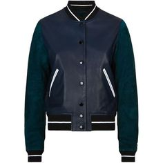 Rag & Bone Alix Leather Varsity Jacket (22,745 MXN) ❤ liked on Polyvore featuring outerwear, jackets, genuine leather jackets, varsity bomber jacket, sport jacket, real leather jackets and leather jackets