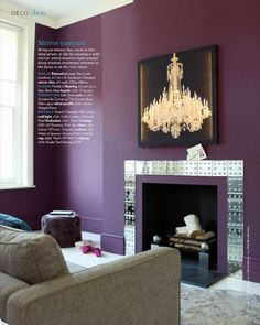 Yummy Purple Living Room Wall With Unique Chrome Mantle