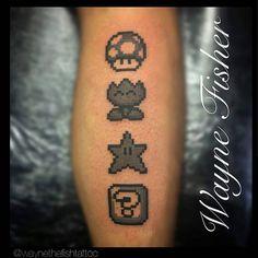 """Mario: ""Life is a game, kid! It all depends on how you play!"" -  8 Bit Mario tattoo by @waynethefishtattoo  #mario #mariotattoo #supermario #nintendo…"""