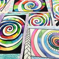 A few more watercolor spirals from last week. Color and frame design was up to 5th graders. Original source of inspiration came from… Classroom Art Projects, School Art Projects, 6th Grade Art, Middle School Art, Spring Art, Art Lessons Elementary, Elements Of Art, Art Lesson Plans, Art Plastique
