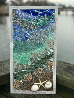 This is a handmade, one of a kind, mosaic coastal window made of sea glass/beach glass art piece. The picture frame meas… – resin crafts Sea Glass Mosaic, Sea Glass Beach, Sea Glass Art, Stained Glass Art, Sea Glass Jewelry, Mosaic Art, Mosaic Garden, Broken Glass Art, Shattered Glass