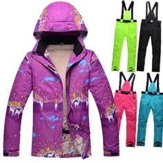 New brand  Skiing Snowboarding women ski clothes plus Thick Velvet  Female Ski suit Warm Wind and Waterproof  Skiing Jackets * You can get additional details at the image link.