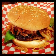 The Stockyard's Smokehouse Butter Burger -- Love this!   The butter is a mixture of beef bone marrow, blue cheese, and red wine.  This is paired with a steak burger, butter lettuce, and fried shallots/onions.