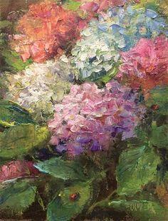 """Daily Paintworks - """"Ladybugs."""" - Original Fine Art for Sale - © Julie Ford Oliver"""