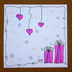 verjaardagskaart roze kadootjes en roze hartjes - Design: A Second Life (The Netherlands)