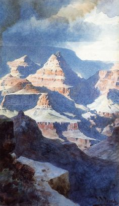William Robinson Leigh - View of the Vishnu Temple from the North Rim of the Grand Canyon - 1906