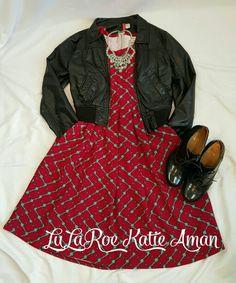 LuLaRoe Katie Aman / LuLaRoe style inspiration/ Fall / Fall Style Inspiration / Fall Fashion / Boots / Booties / Leather Jacket / Amelia dress