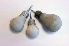 DIY Concrete Lightbulb Hooks: easy to make with full instructions