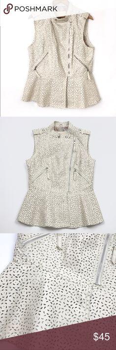 """Guess Lauren Peplum Biker Vest Cream Women's XS Guess Lauren Peplum Biker Vest Faux Leather Eyelet Women's Size XS  Pit to Pit: 16""""  Length: 23""""  Waist: 14""""  Condition: Excellent pre-owned condition. Guess Jackets & Coats Vests"""