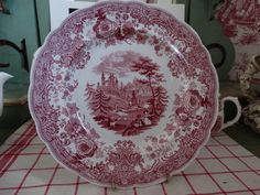 William Ridgway and Company Red Transferware Plate in the Tyrolean Pattern featuring  Goat Herders overlooking the Alps. Made in England. by HomecomingDiningRoom on Etsy