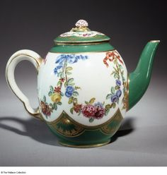 Vincent Taillandier (1736 - 1790), Painter Sèvres, France c. 1765 Soft-paste porcelain, painted and gilded Height: 12.3 cm Factory mark: Interlaced Ls Painter's mark: A fleur de lis for Vincent Taillandier Import mark: A long-tailed 'a' C380