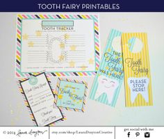 Tooth Fairy Printables - Note, Door Hanger, Stickers, Tooth Chart - INSTANT DOWNLOAD on Etsy, $8.00
