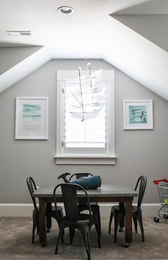 Kids Tolix Chairs, Transitional, boy's room, Benjamin Moore Gray Owl, 6th Street Design School