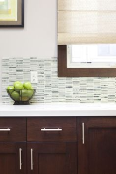 Kitchen backsplash idea, Imagine this with lighter cabinets and green, sea glass toned backsplash