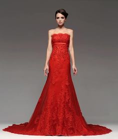 pictures of red wedding dresses | ... .info/wp-content/uploads/2015/03/lace-red-wedding-dress.jpg