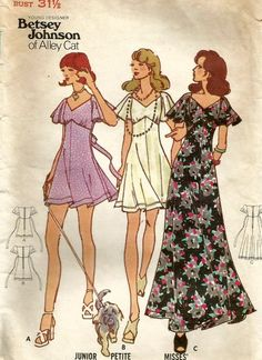 Aug 2018 - Items similar to Vintage Butterick 6976 UNCUT Misses Empire Waist Dress with Flutter Sleeves Sewing Pattern by Betsey Johnson on Etsy Robes Vintage, Vintage 70s, Vintage Outfits, Etsy Vintage, Free Sewing, Vintage Sewing Patterns, Clothing Patterns, Pattern Sewing, Sewing Clothes