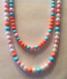 Fall Collection 2015Coral beaded 18 necklace by BonKim on Etsy